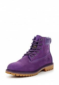 Женские фиолетовые осенние ботинки из нубука на каблуке