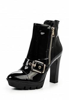 Женские черные осенние кожаные ботильоны на платформе