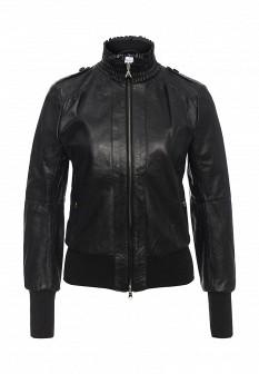Женская черная итальянская осенняя кожаная куртка