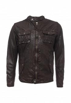 Мужская коричневая осенняя кожаная куртка