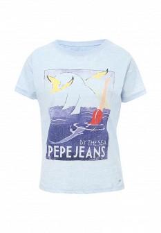 Женская голубая футболка Pepe Jeans