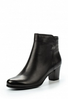 Женские черные осенние кожаные ботильоны на каблуке