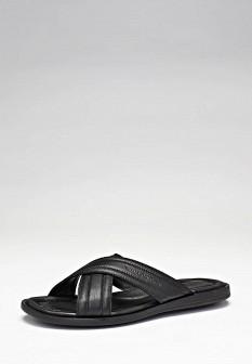 Мужские черные кожаные летние шлепанцы