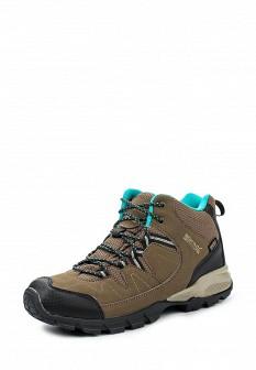 Женские бежевые кожаные трекинговые ботинки из нубука