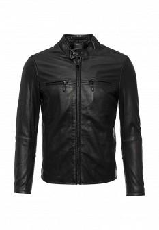 Мужская черная итальянская осенняя кожаная куртка