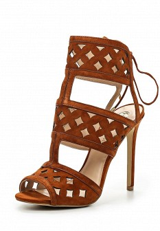 Женские коричневые босоножки на каблуке