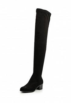 Женские черные осенние сапоги на каблуке
