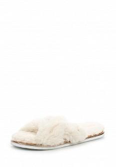 Женские белые меховые тапочки