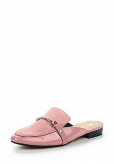 Женские розовые лаковые сабо на каблуке
