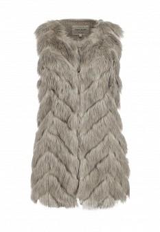 Женский серый осенний меховой жилет