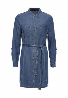 Синее осеннее джинсовое платье