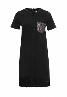Черное осеннее джинсовое платье