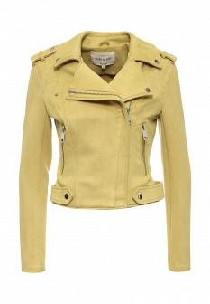 Женская желтая осенняя кожаная куртка