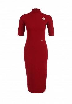 Красное итальянское осеннее платье