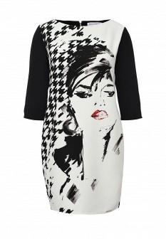Белое черное итальянское осеннее платье