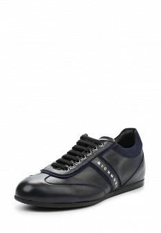 Мужские синие итальянские осенние кожаные кроссовки
