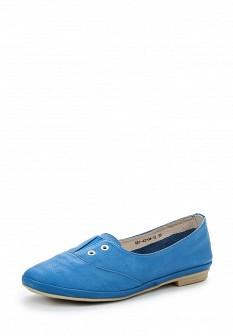 Женские голубые кожаные туфли
