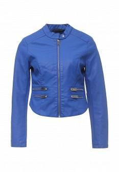 Женская синяя осенняя кожаная куртка