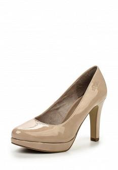 Женские бежевые кожаные лаковые туфли на платформе