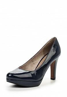 Женские синие кожаные лаковые туфли на платформе