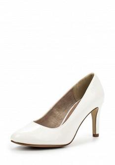 Женские белые кожаные лаковые туфли на каблуке