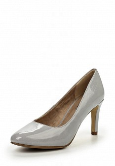 Женские серые кожаные лаковые туфли на каблуке