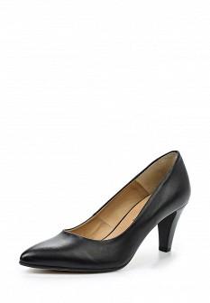 Женские черные кожаные туфли на каблуке
