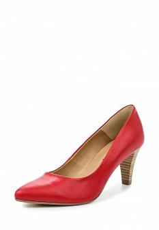 Женские красные кожаные туфли на каблуке