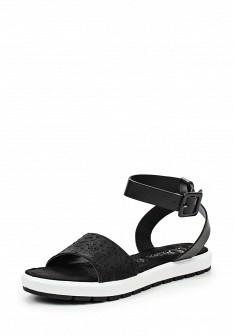 Женские черные кожаные сандалии из нубука