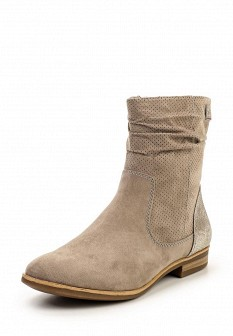 Женские бежевые осенние кожаные сапоги на каблуке