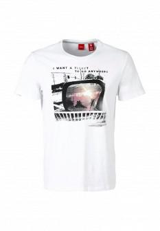 Мужская белая футболка S.OLIVER