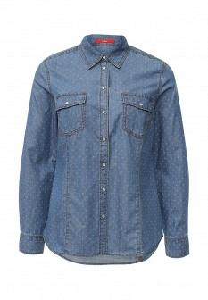 Женская синяя осенняя джинсовая рубашка