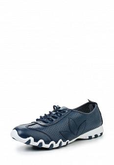 Женские синие кожаные кроссовки