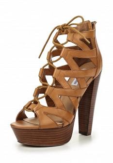 Женские коричневые кожаные ботильоны на каблуке на платформе