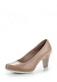 Женские бежевые немецкие кожаные туфли на каблуке