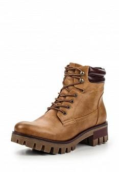 Женские коричневые осенние кожаные ботинки на каблуке