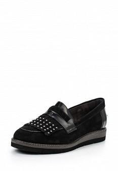 Женские осенние кожаные туфли лоферы на каблуке
