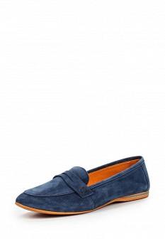 Женские синие итальянские туфли лоферы