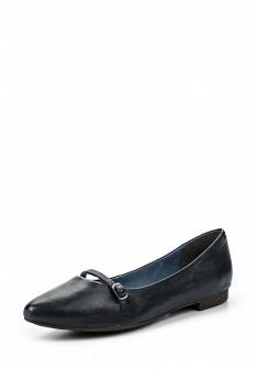 Женские синие кожаные туфли Tamaris