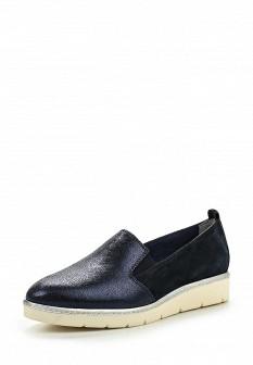 Женские синие туфли лоферы на каблуке
