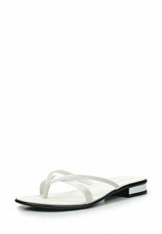 Женские белые итальянские кожаные летние шлепанцы