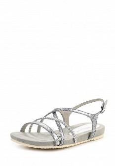 Женские серебряные кожаные сандалии на каблуке
