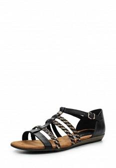 Женские черные кожаные сандалии на пробковой подошве