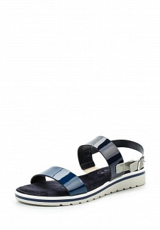 Женские синие итальянские кожаные сандалии