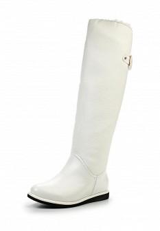 Женские белые осенние кожаные сапоги