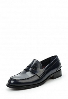 Мужские синие осенние кожаные туфли лоферы