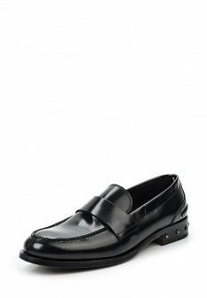 Мужские черные осенние кожаные туфли лоферы