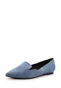 Женские голубые туфли лоферы