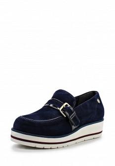 Женские синие туфли лоферы на каблуке на платформе