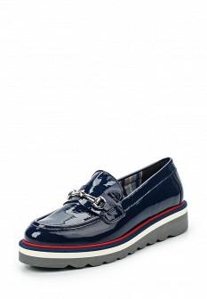 Женские синие осенние лаковые туфли лоферы
